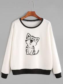 Sweat-shirt imprimé chat manche longue - blanc