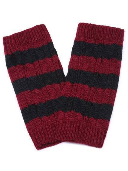 Red and Black Striped Cable Knit Handwarmers