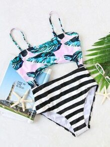 Leaf Print Spaghetti Strap Cutout One-Piece Swimwear