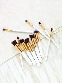 10PCS White Professional Makeup Brush Set