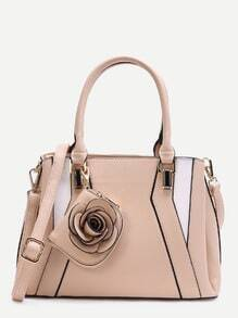 Apricot Patchwork Leather Floral Embellished Tote Bag