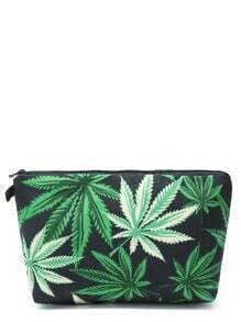 Black Leaf Print Makeup Clutch Bag