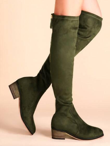 Зелёные замшевые сапоги фото