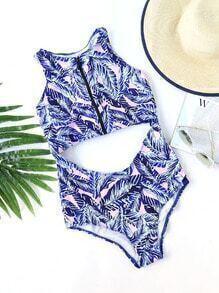 Blue Leaf Print Racer Back Cutout One-Piece Swimwear
