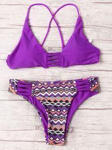 Bikini chevron estampado -violeta