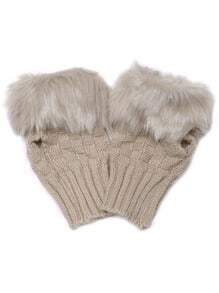 Khaki Faux Fur Texture Knitted Half-finger Gloves