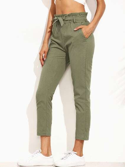 Army Green Ruffled Tie Waist pants