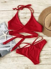 Collection de bikini croisé devant dos nue sexy -bordeaux rouge