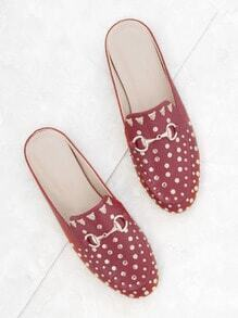 Red Gold Stud Embellished Slip-on Loafers