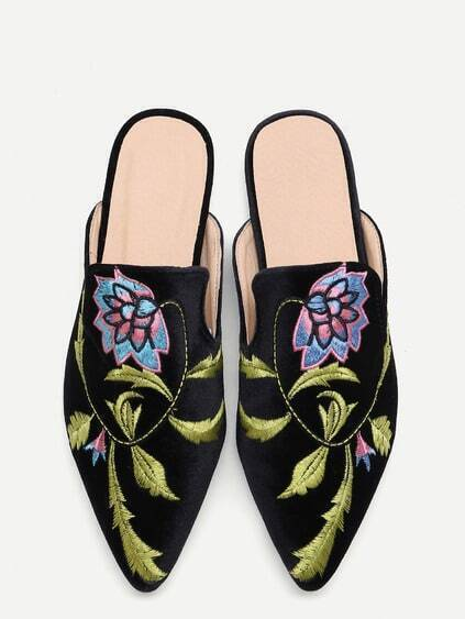 Black Floral Embroidered Velvet Loafer Slippers
