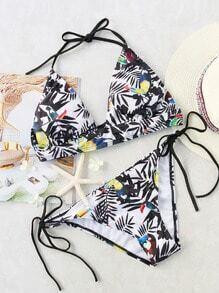 Black Printed Halter Side Tie Bikini Set