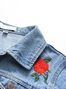 Blue flower embroidery single breasted denim jacketfor women romwe blue flower embroidery single breasted denim jacket model measurements ccuart Images
