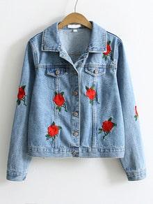 Einreihe Denim Jacke mit Stickereien - blau