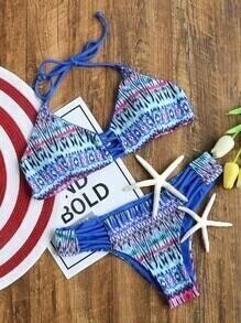 Sets de bikini con estampado con tiras cruzadas - azul