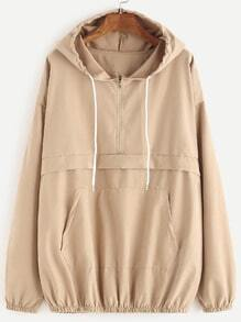 Khaki Drop Shoulder Zip Detail Pocket Drawstring Hoodie