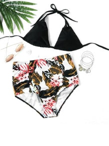 Collection de bikini imprimé tropical  Mix & Match taille haut