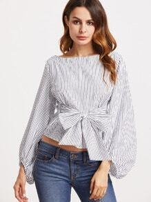 Vertical Striped Boat Neck Bow Tie Front Blouse