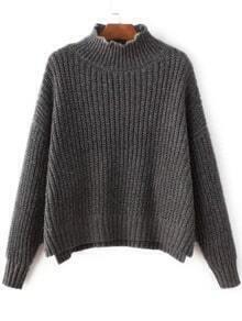 Jersey asimétrico con hombro caído y cuello alto - gris