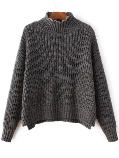 Grey Mock Neck Drop Shoulder Dip Hem Sweater