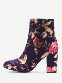 Purple Flower Print Suede Point Toe Chunky Boots