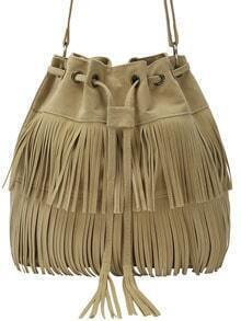 Khaki Fringe Eyelet Bag With Drawstring