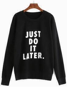 Sweat-shirt imprimé slogan manche longue - noir