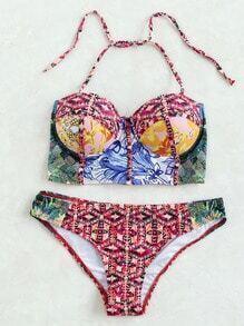 Set bikini halter con estampado - multicolor
