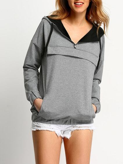 Grey Hooded Zipper Sweatshirt