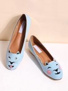Blue Cat Embroidery Ballet Flats