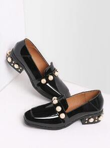 Black Pearl Studded Patent Leather Low Heel Loafers