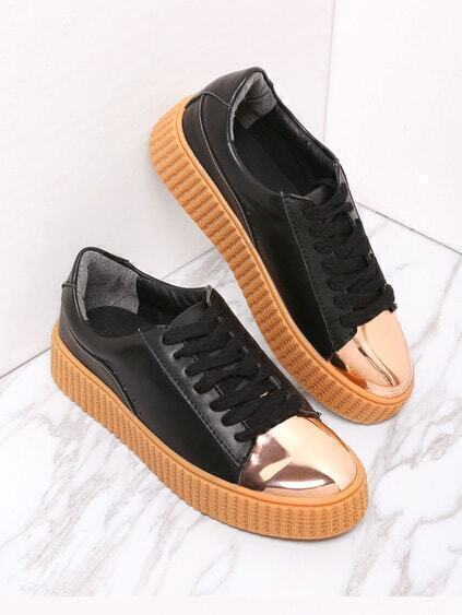 Black Contrast Round Toe Rubber Sole Sneakers