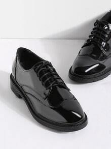 Black Lace Up Patent Leather Shoes
