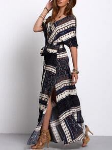 Navy Split Tie-Waist Vintage Print Maxi Dress