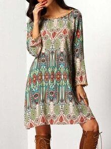 Crew Neck Aztec Print V Back Dress