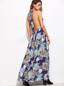 Navy Printed Halter Backless Maxi Dress