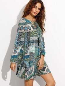 Green Ornate Patchwork Print Tie Neck Tunic Dress