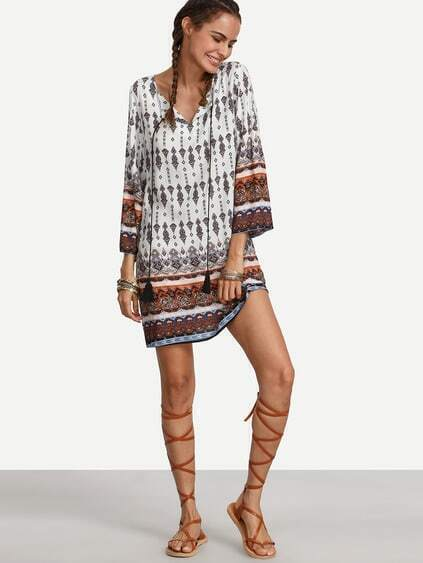 Multicolor Print Tassel Long Sleeve Shift Dress