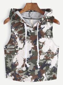 T-shirt à capuche imprimé camouflage