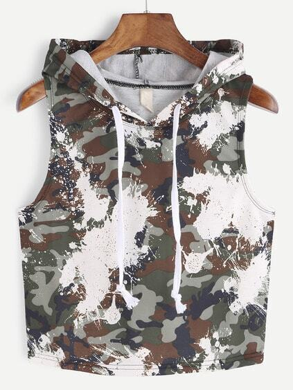 Camouflage Print Hooded Crop Top