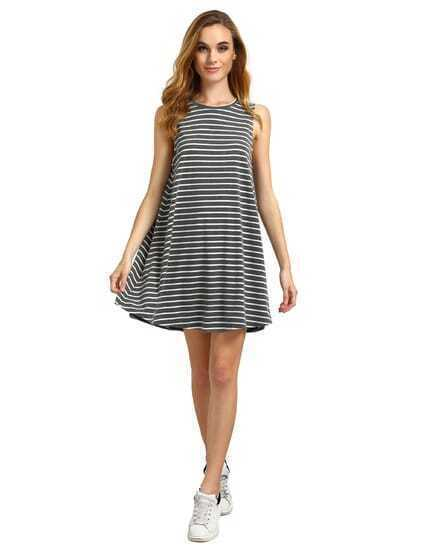 Deep Grey Striped Sleeveless Dress