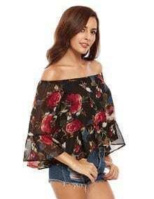 Mehrfarbige Blumen aus der Schulter Bluse