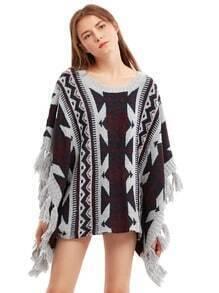 Gris manga del Batwing de la borla del suéter