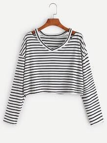 Camiseta de rayas cuello con abertura - negro blanco