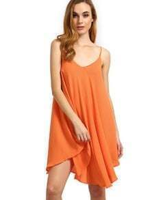 Orange Spaghetti Strap Asymmetrical Shift Dress Sundresses