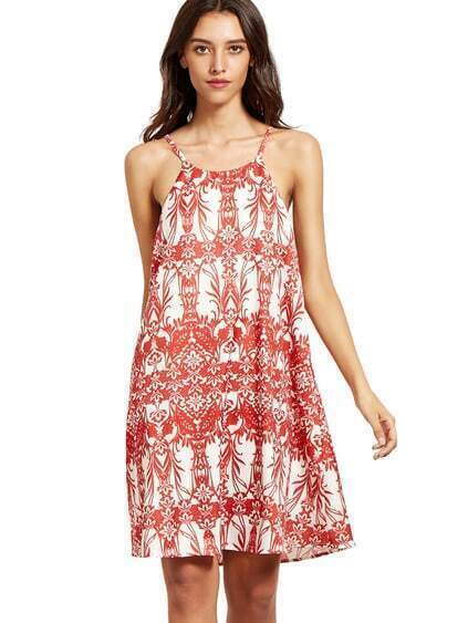 Red Print In White Spaghetti Strap Shift Dress