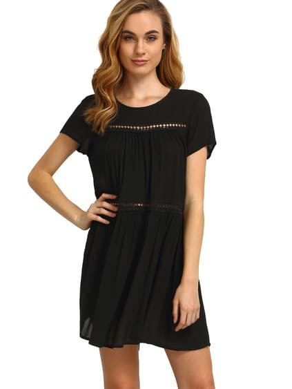 Black Short Sleeve Shift Dress