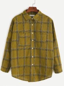 Khaki Plaid Drop Shoulder Dip Hem Pocket Shirt