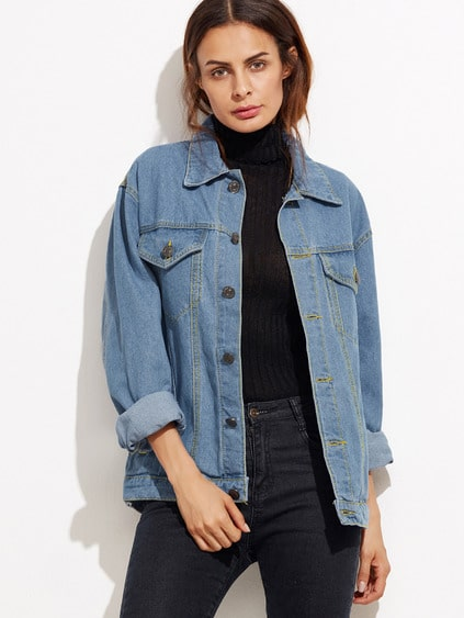 Blue Button Front Pockets Denim Jacket
