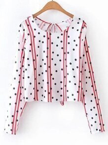 Striped Dot Print Slit Lace Up Back Blouse
