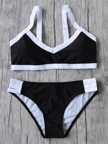Black Contrast Trim Sexy Bikini Set